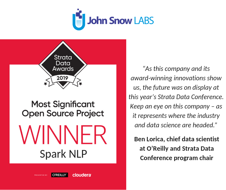 "John Snow Labs' Spark NLP wins ""Most Significant Open Source Project"" at the Strata Data Awards"