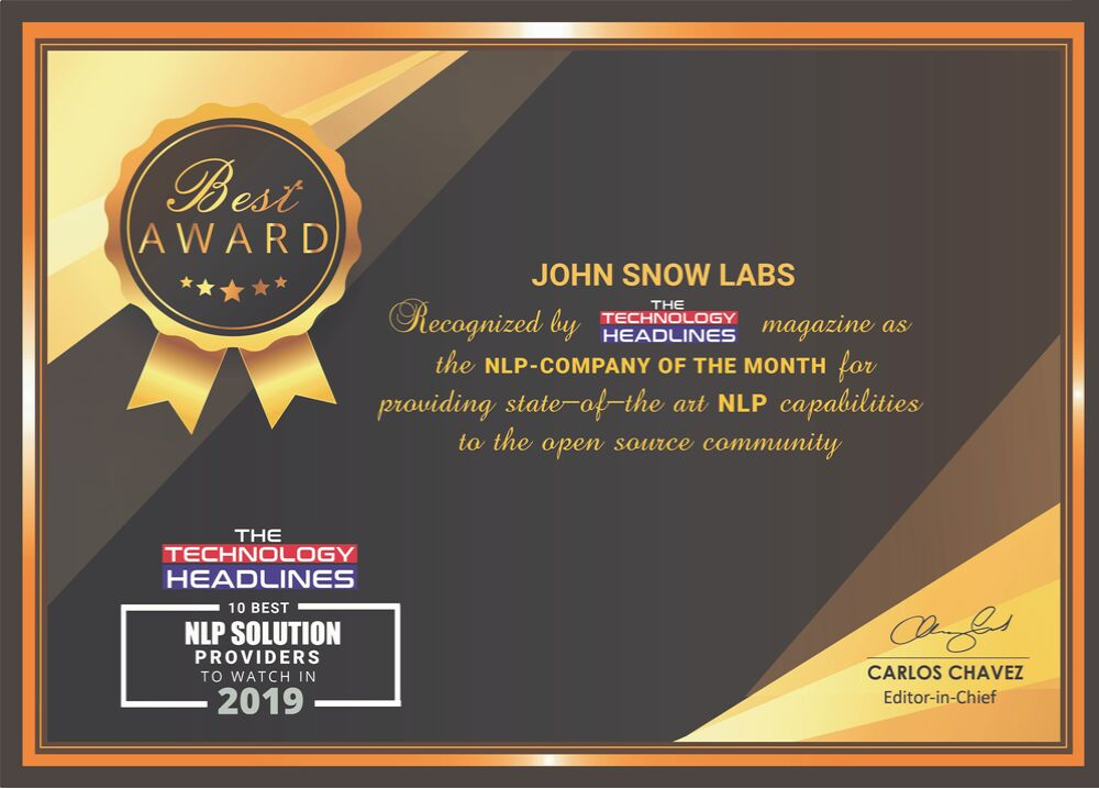 John Snow Labs is Named NLP Company of the Month & Announces Major New Release of Spark NLP